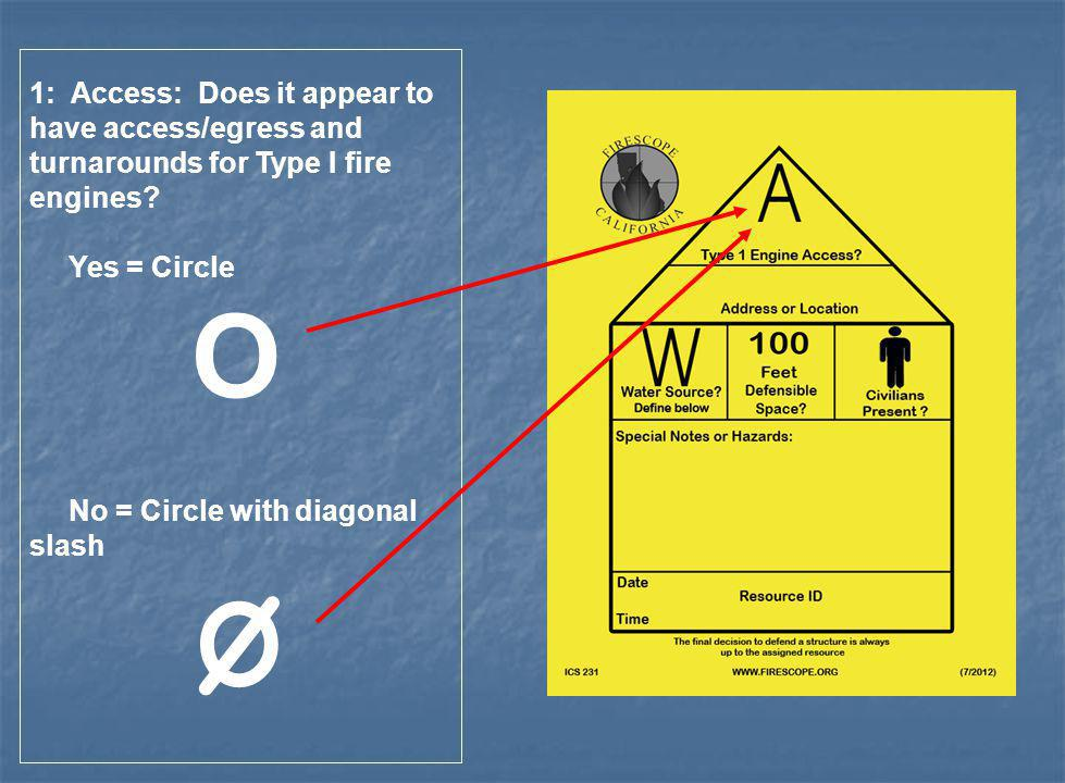 1: Access: Does it appear to have access/egress and turnarounds for Type I fire engines
