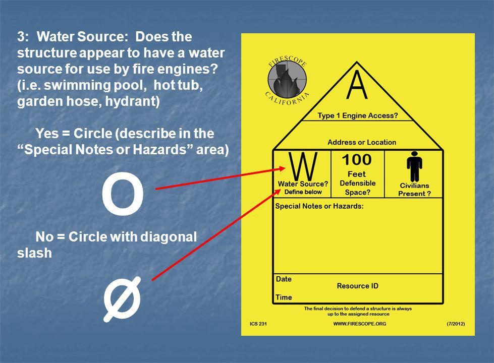 3: Water Source: Does the structure appear to have a water source for use by fire engines (i.e. swimming pool, hot tub, garden hose, hydrant)