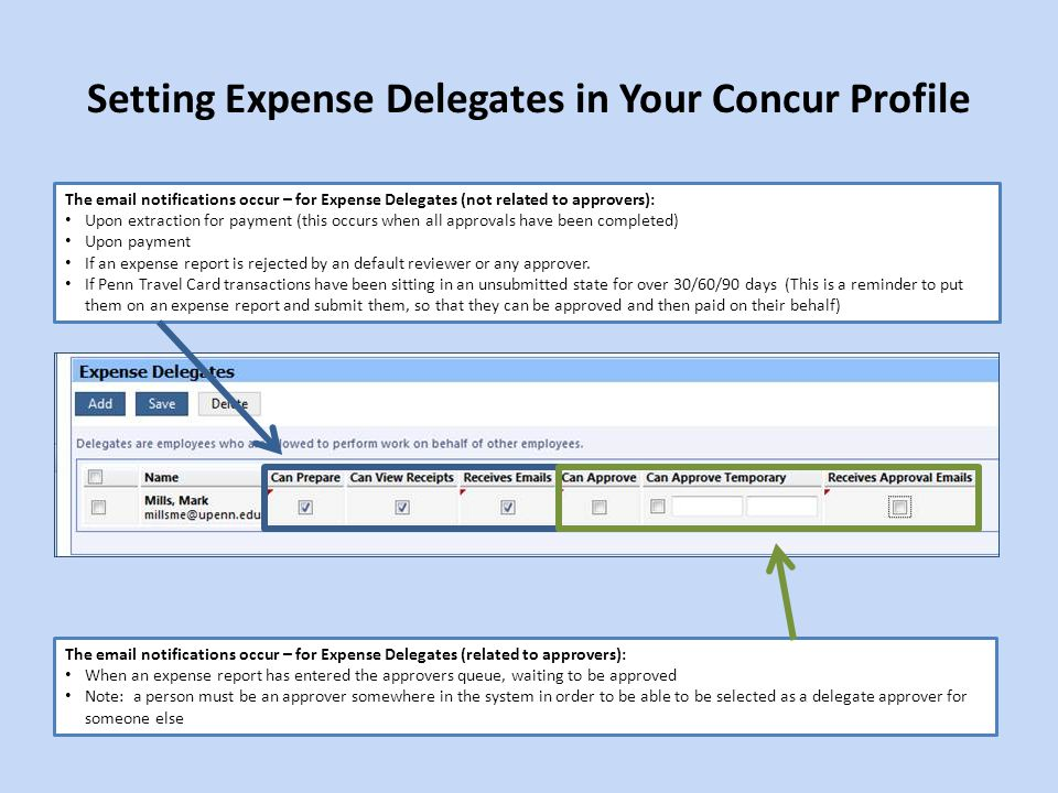 Setting Expense Delegates in Your Concur Profile