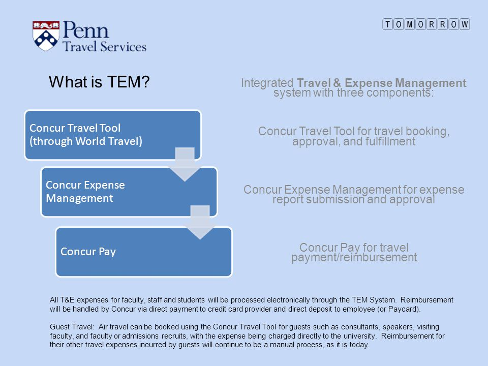 What is TEM Concur Travel Tool (through World Travel)