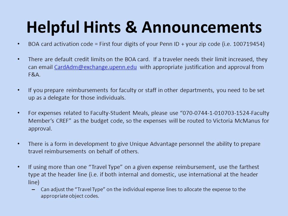 Helpful Hints & Announcements