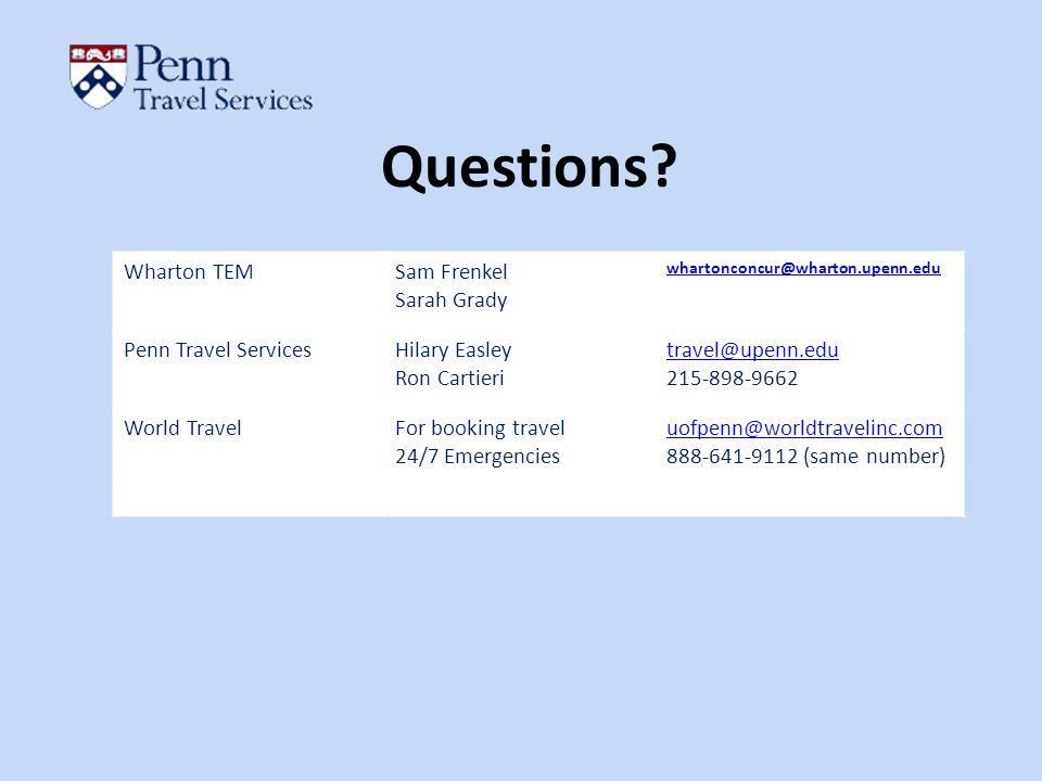 Questions Wharton TEM Sam Frenkel Sarah Grady Penn Travel Services