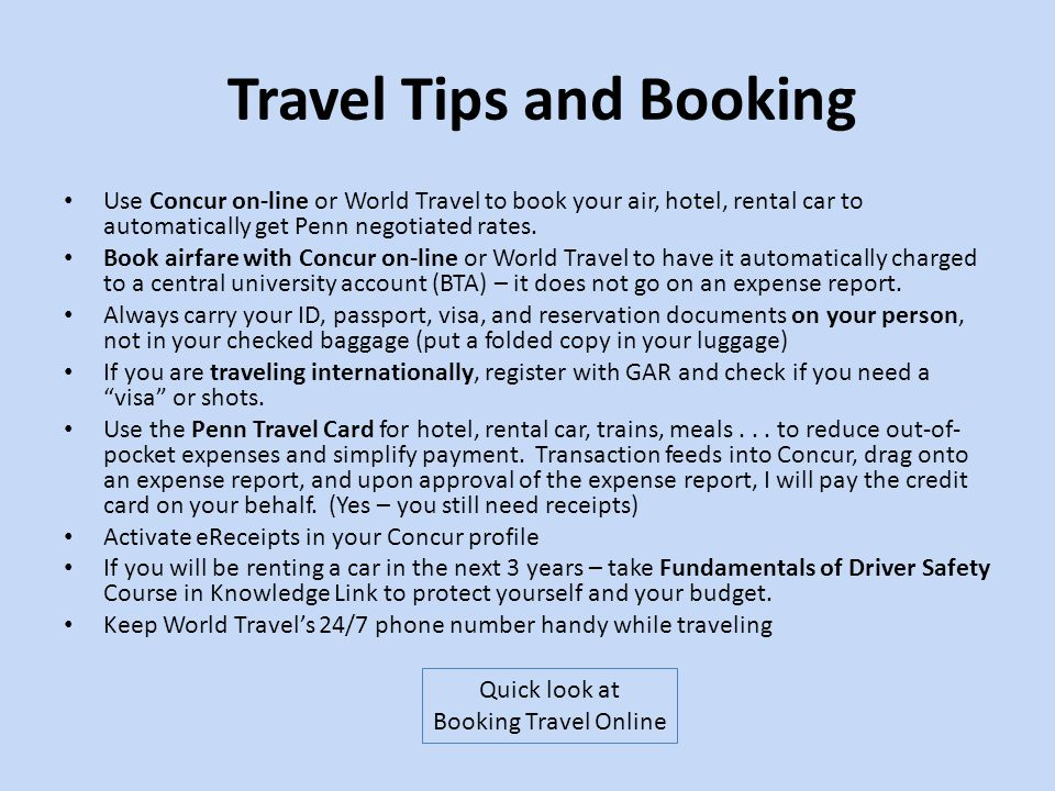 Travel Tips and Booking