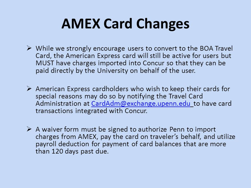AMEX Card Changes