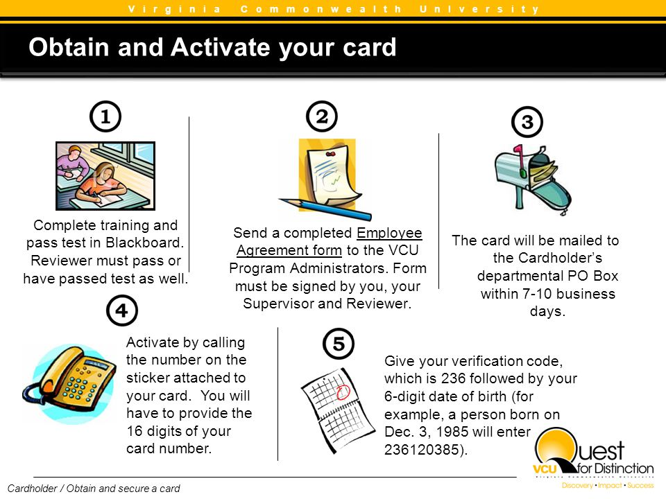 Obtain and Activate your card