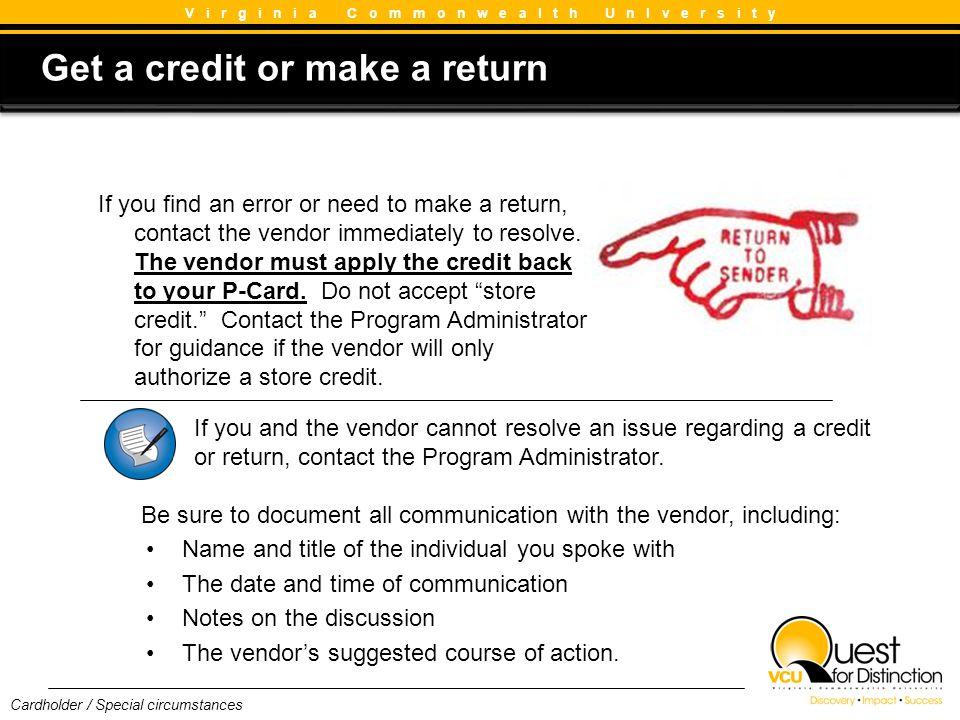 Get a credit or make a return