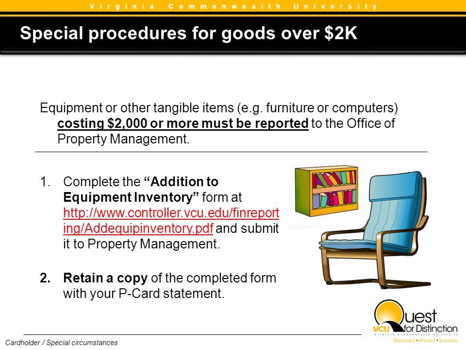 Special procedures for goods over $2K