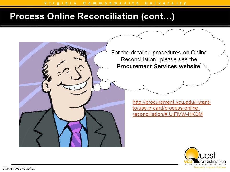 Process Online Reconciliation (cont…)