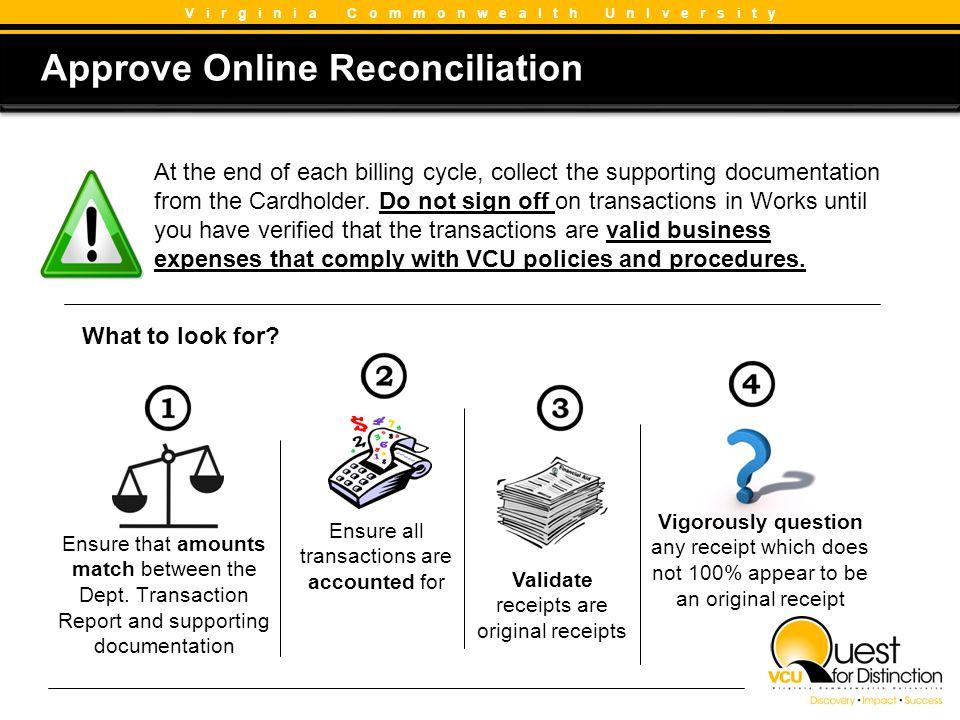 Approve Online Reconciliation