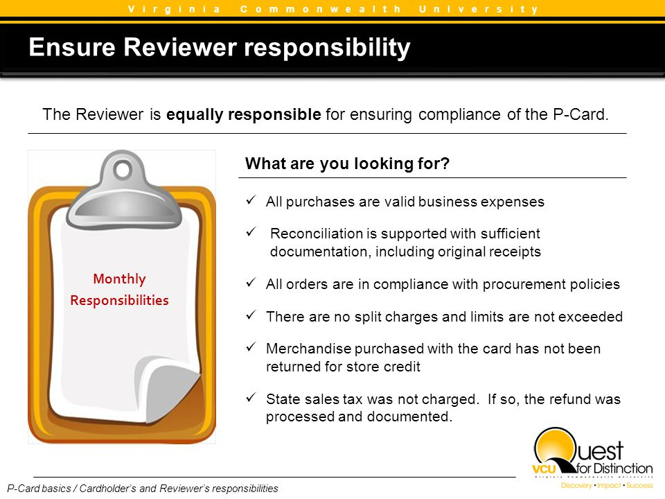 Ensure Reviewer responsibility