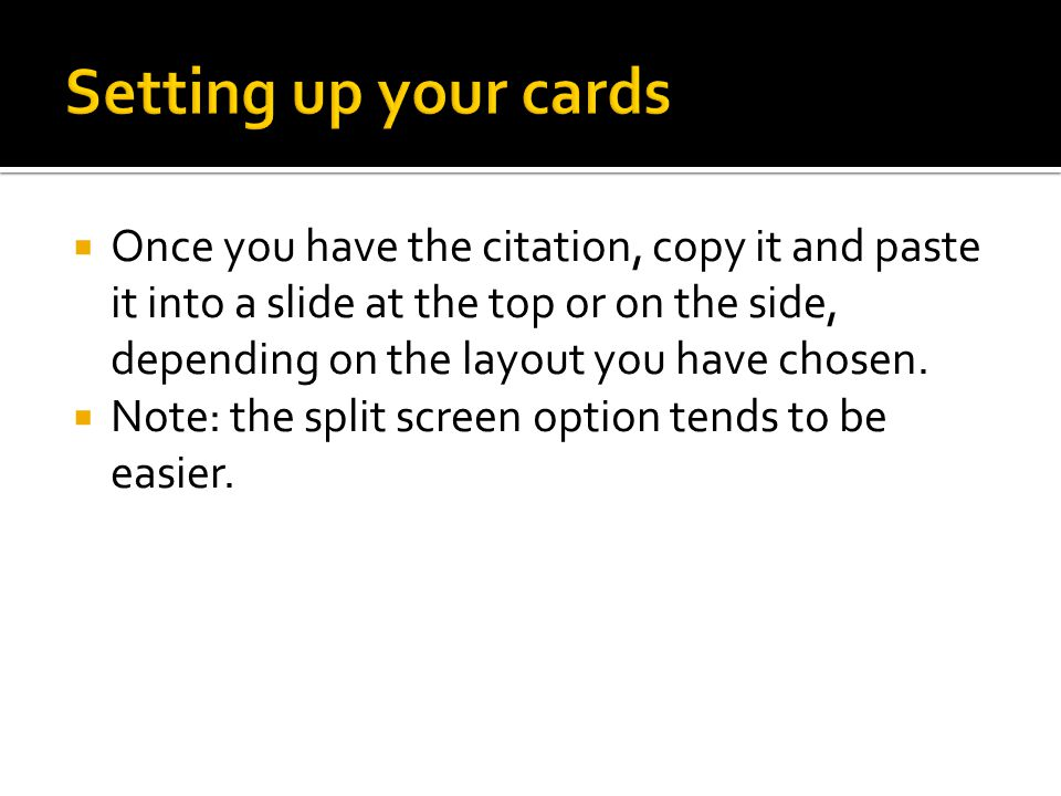 Setting up your cards