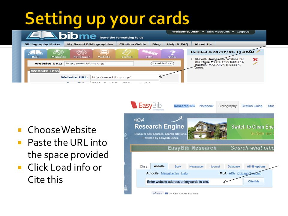 Setting up your cards Choose Website