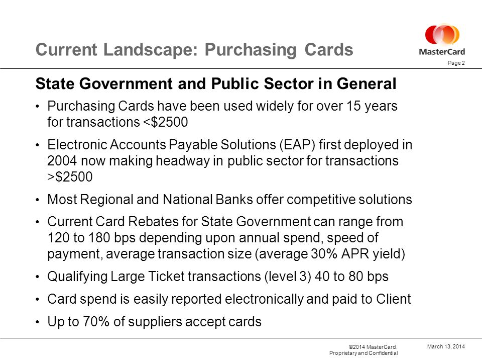 Current Landscape: Purchasing Cards