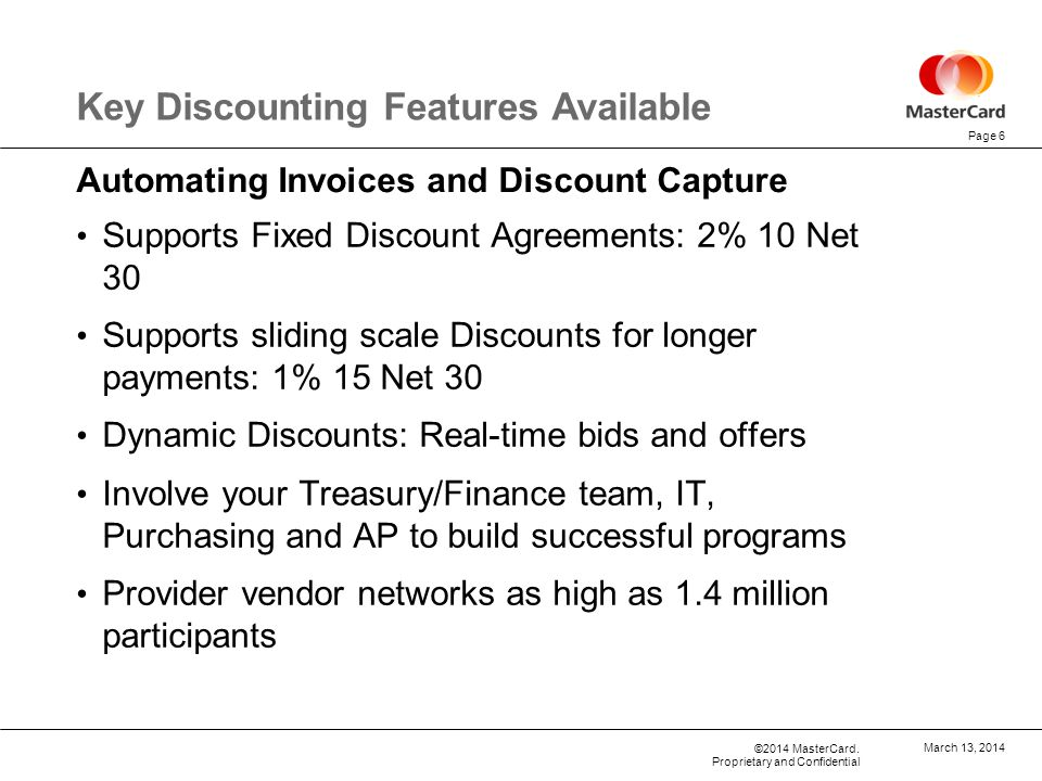 Key Discounting Features Available