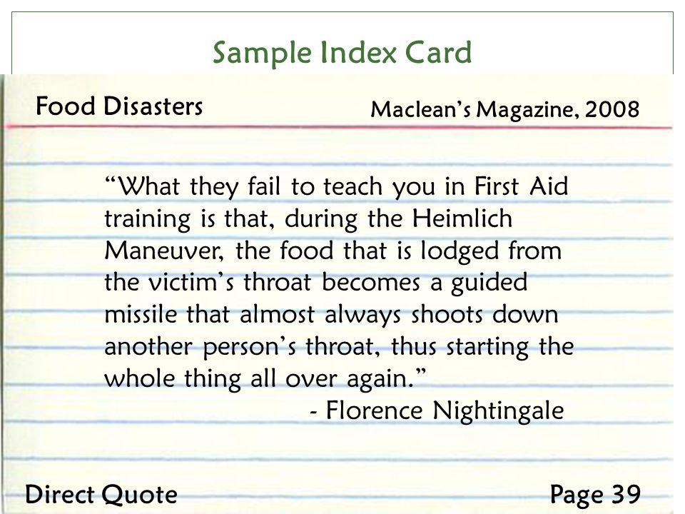 Sample Index Card Food Disasters