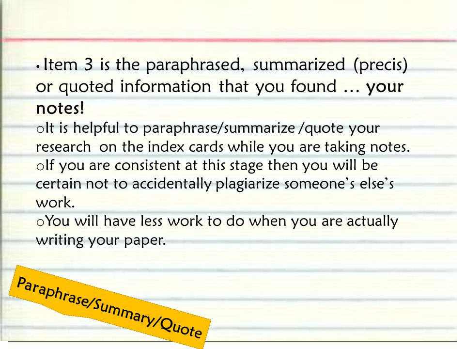 Paraphrase/Summary/Quote