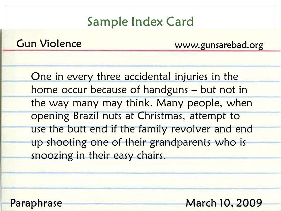 Sample Index Card Gun Violence