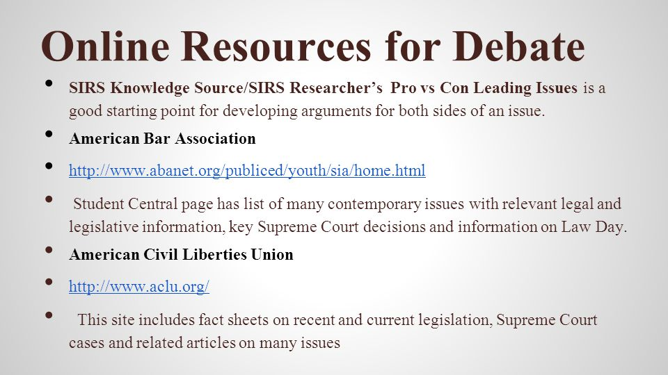 Online Resources for Debate