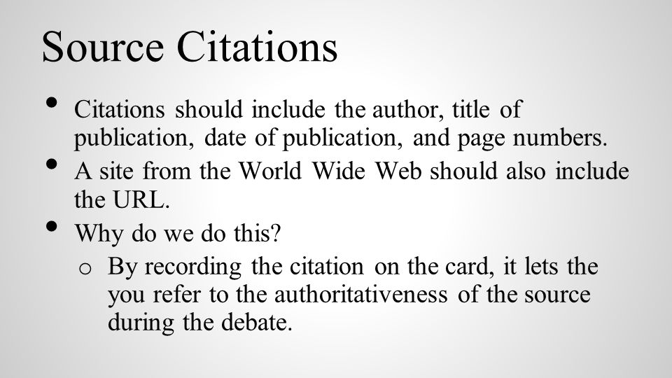 Source Citations Citations should include the author, title of publication, date of publication, and page numbers.