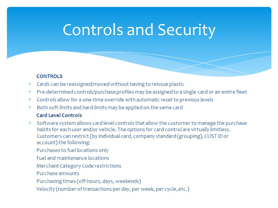 Controls and Security CONTROLS