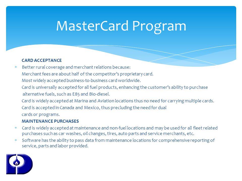 MasterCard Program CARD ACCEPTANCE