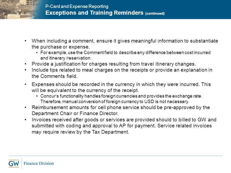 Exceptions and Training Reminders (continued)
