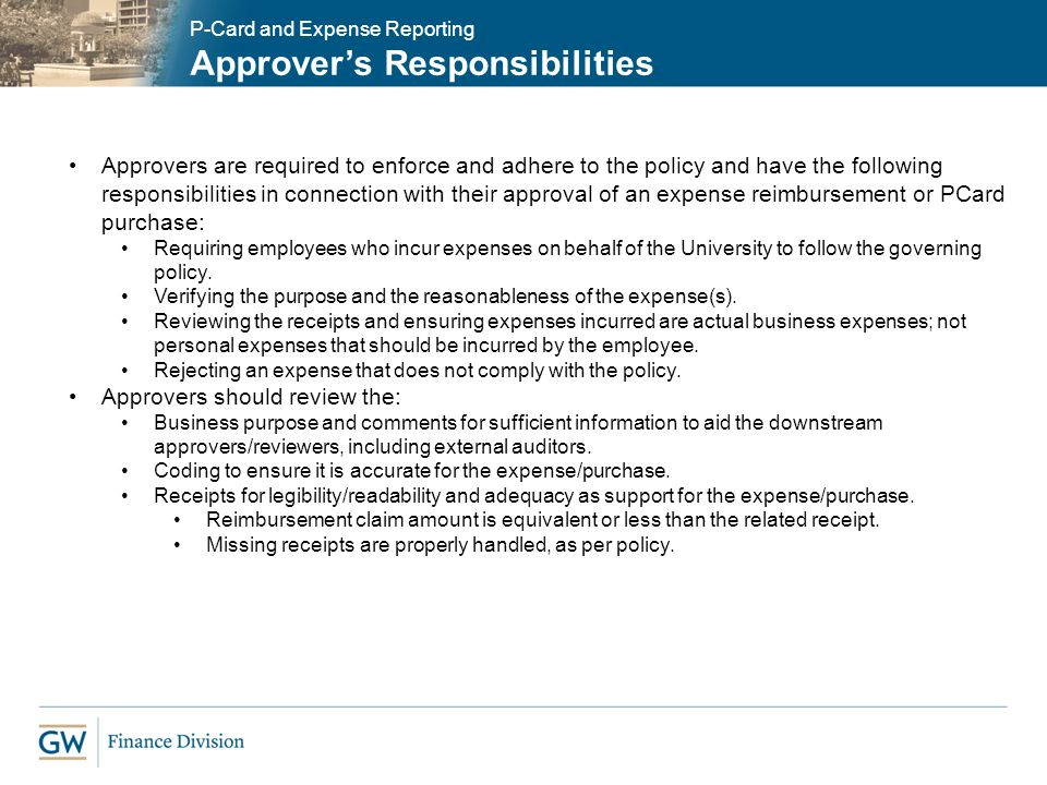 Approver's Responsibilities