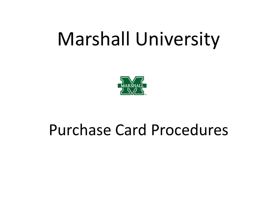 Purchase Card Procedures