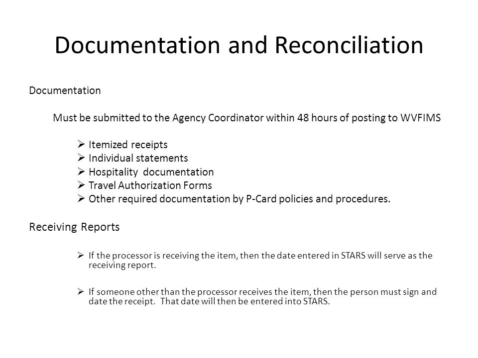 Documentation and Reconciliation