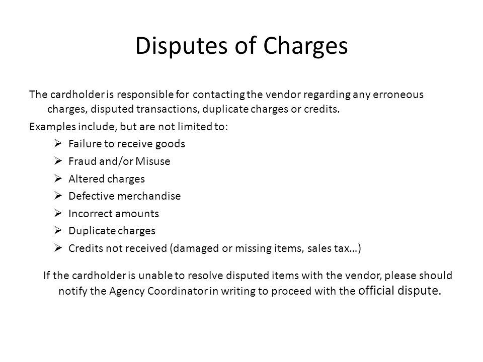 Disputes of Charges
