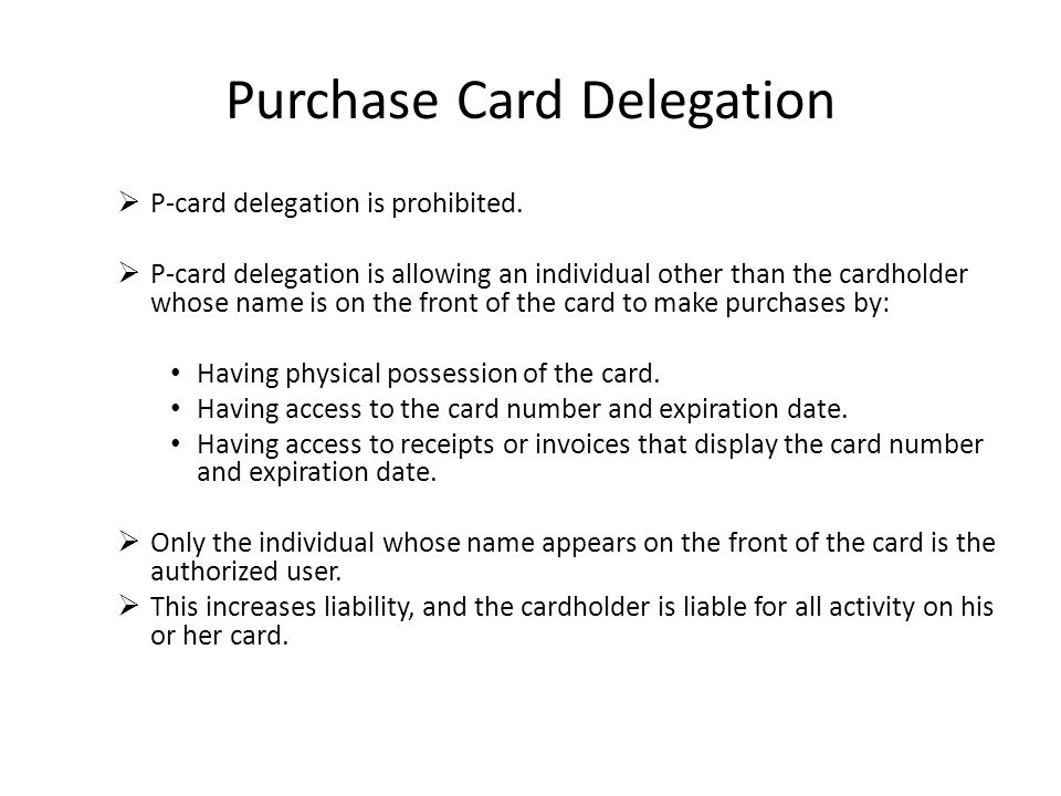 Purchase Card Delegation