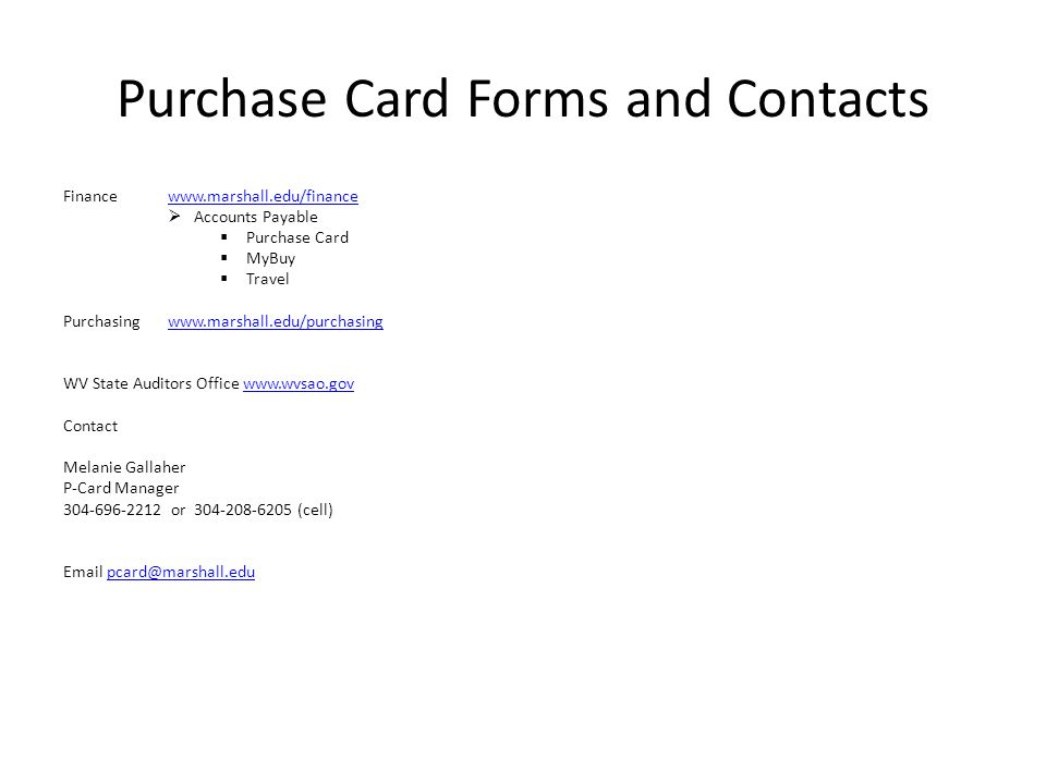 Purchase Card Forms and Contacts