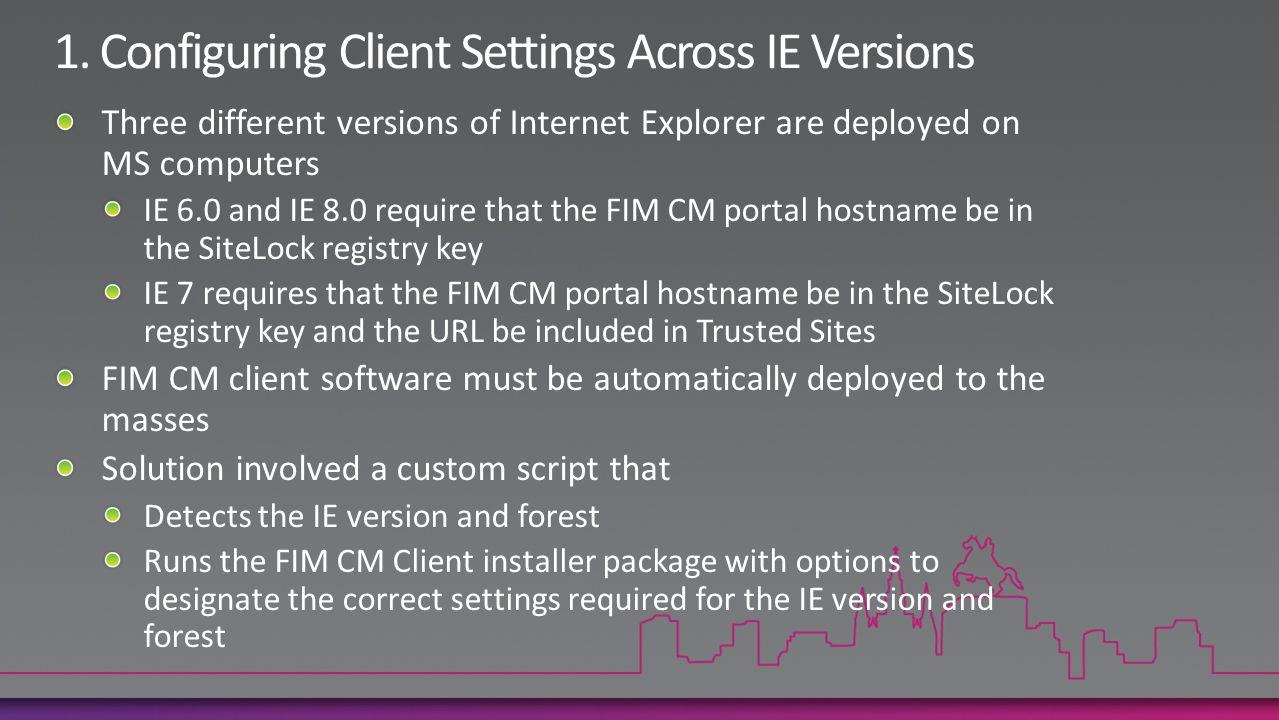 1. Configuring Client Settings Across IE Versions
