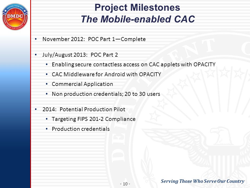 Project Milestones The Mobile-enabled CAC