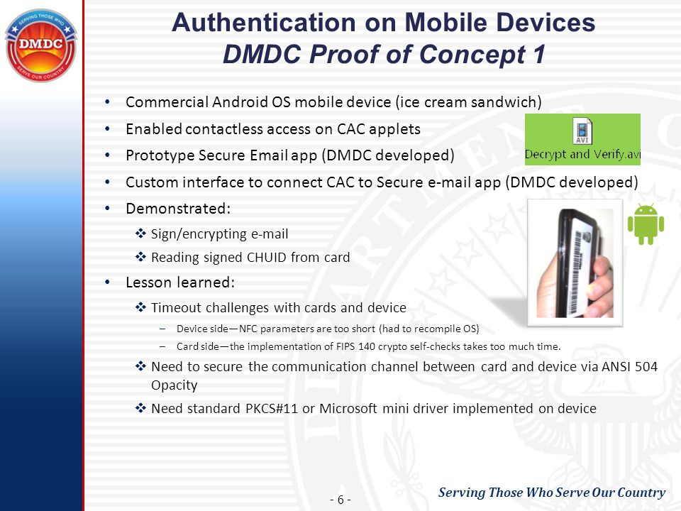 Authentication on Mobile Devices DMDC Proof of Concept 1
