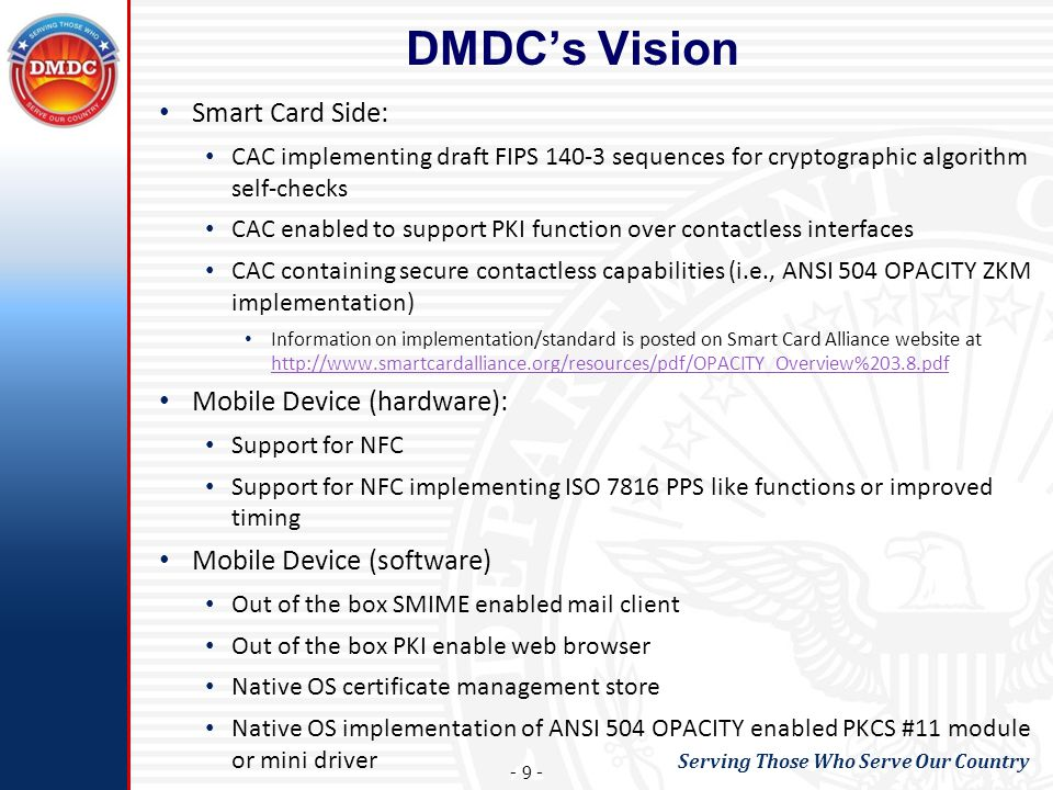 DMDC's Vision Smart Card Side: Mobile Device (hardware):