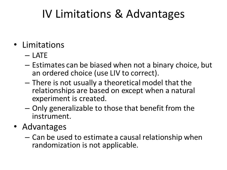 IV Limitations & Advantages