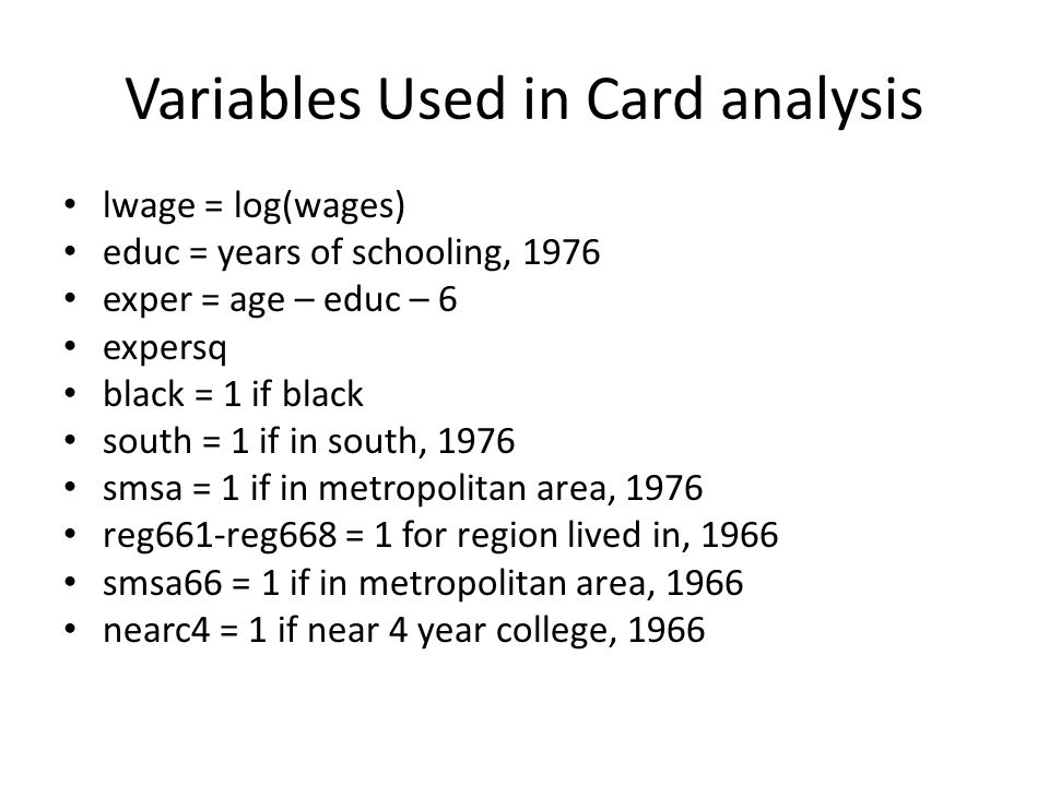 Variables Used in Card analysis