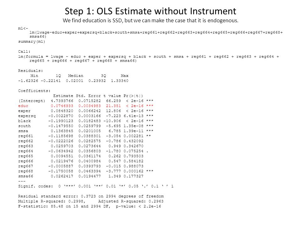 Step 1: OLS Estimate without Instrument We find education is SSD, but we can make the case that it is endogenous.