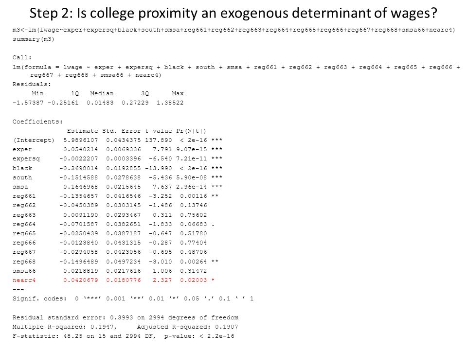 Step 2: Is college proximity an exogenous determinant of wages