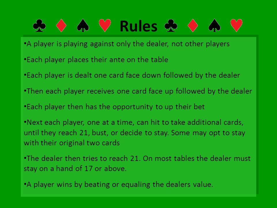Rules A player is playing against only the dealer, not other players