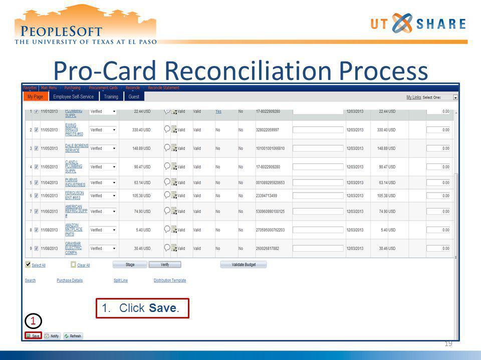 Pro-Card Reconciliation Process