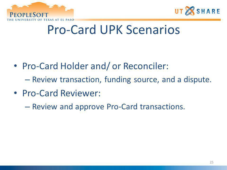 Pro-Card UPK Scenarios