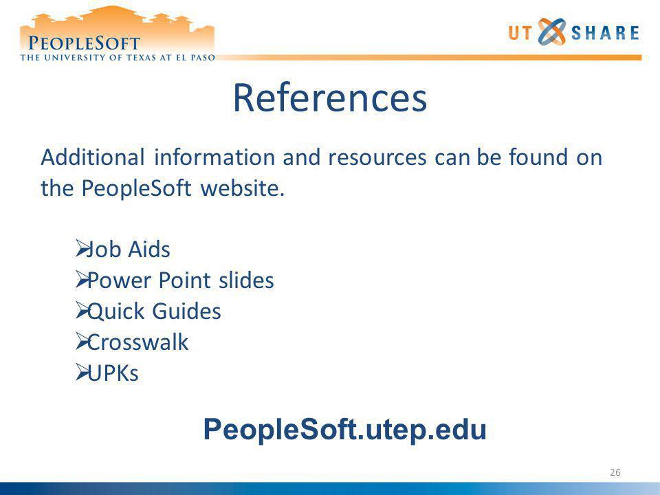 References PeopleSoft.utep.edu