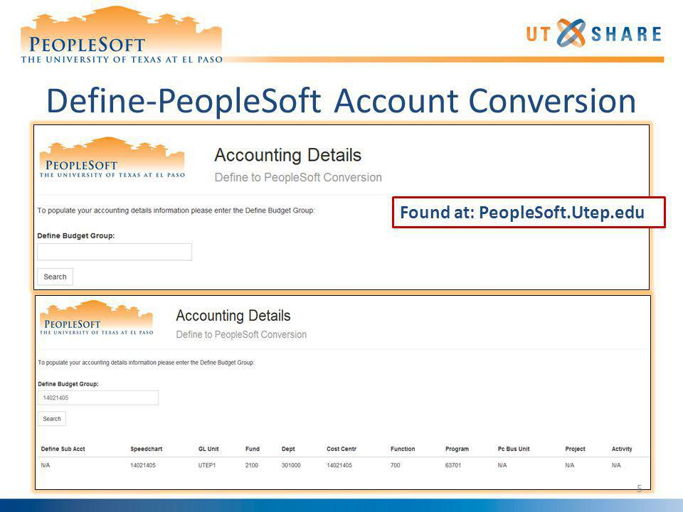 Define-PeopleSoft Account Conversion