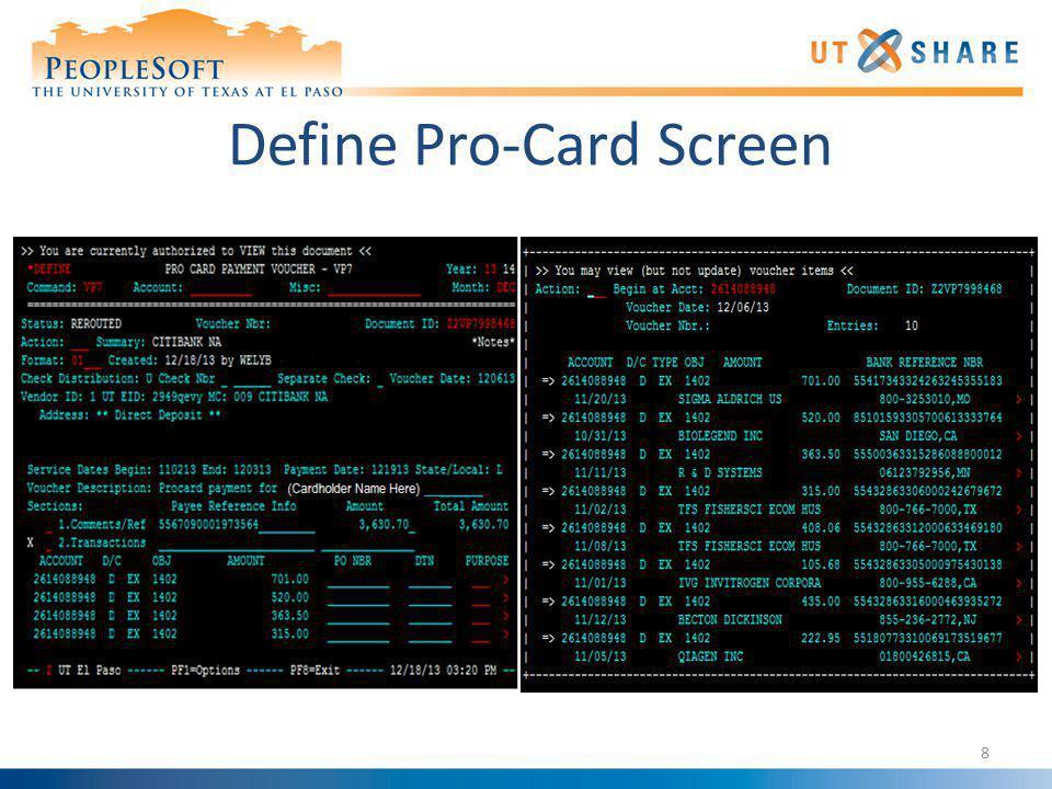 Define Pro-Card Screen