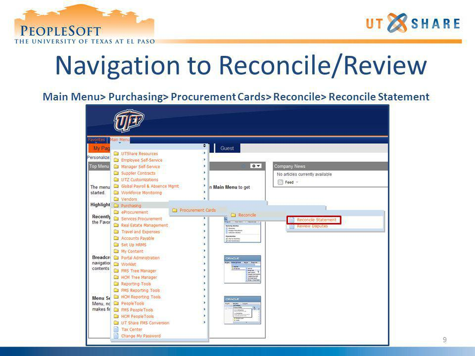 Navigation to Reconcile/Review