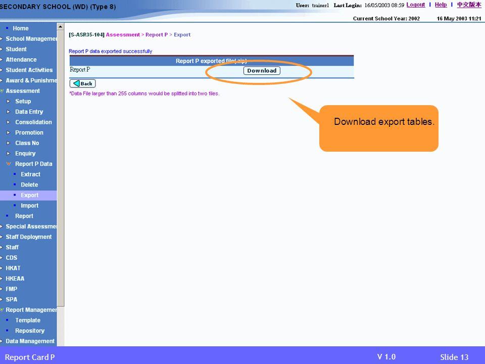 Download export tables.