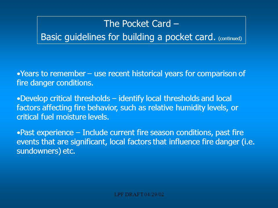 Basic guidelines for building a pocket card. (continued)