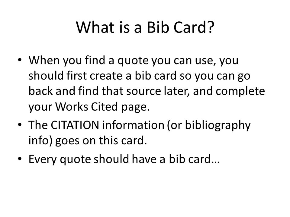 What is a Bib Card